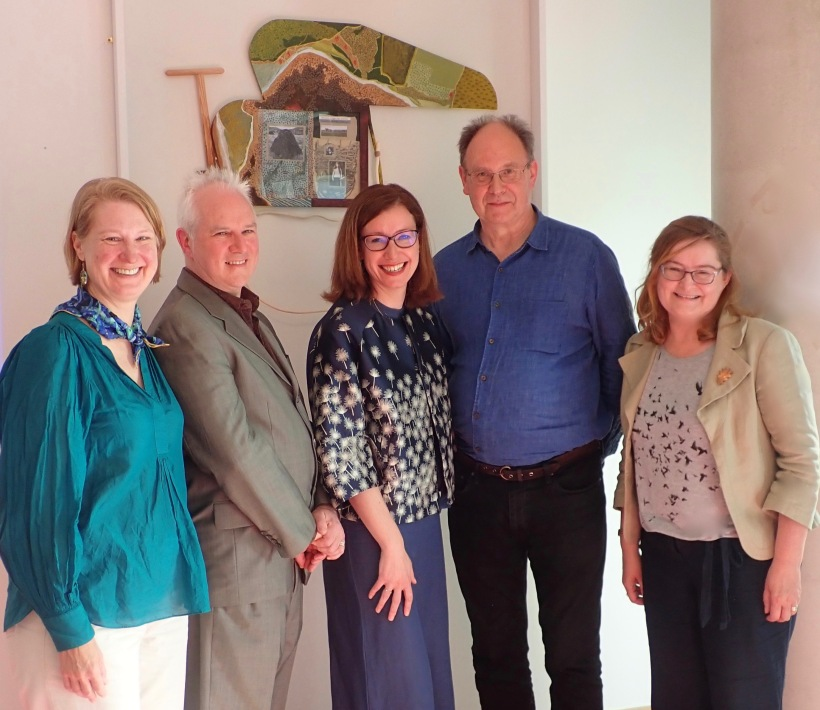 From Left: Prof Karen Till, Prof Gerry Kearns, Cultural Geography, Maynooth University, Dr. Nessa Cronin, Irish Studies, NUIG, Dr. Iain Biggs, Bath Univ, UK and Dr. Cathy Fitzgerald, Moore Institute, NUIG, June 2019.